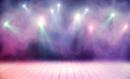 Wooden stage with pink smoke and spot lights. Performance concept