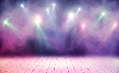 Scène en bois avec fumée rose et spots. Concept de performance Banque d'images - 79633479