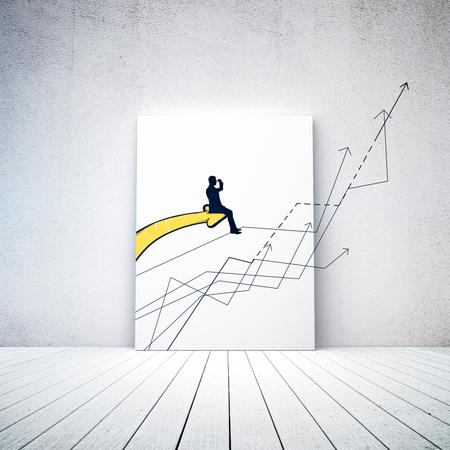黄色チャートの矢印の上に座って、遠くを探しているビジネスマンの図面を抽象化します。明るいインテリアのキャンバス。3 D レンダリング