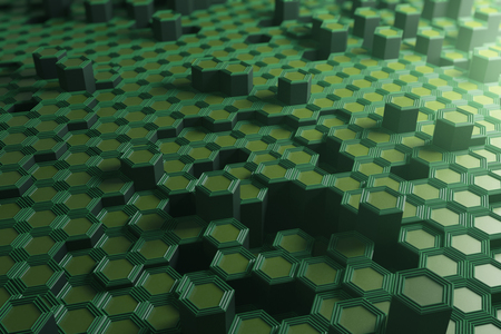 Green hexagonal background. Technology concept. 3D Rendering