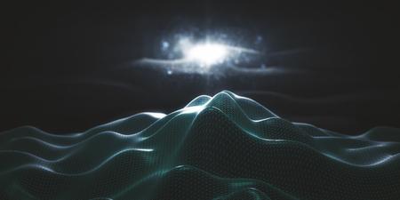 Abstract green polygonal mountain wallpaper. 3D Rendering Stock Photo