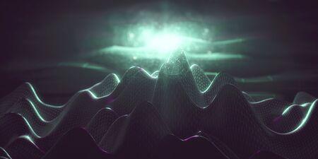 Abstract green polygonal mountain backdrop. 3D Rendering