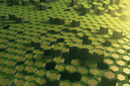 Green hexagonal backdrop. Technology concept. 3D Rendering