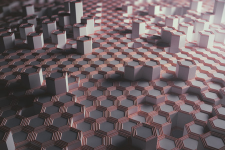 Pink hexagonal background. Technology concept. 3D Rendering