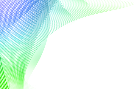 Creative green and blue linear art on white background. Copy space