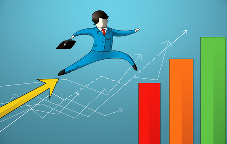 Abstract image of drawn businessman jumping from upward arrow to chart bars on blue background. Success concept