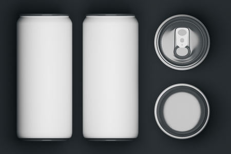 Top view of several white beer cans on dark background. Container concept. Mock up, 3D Rendering