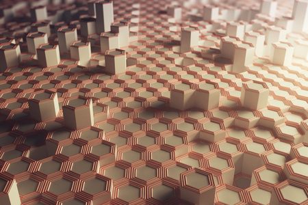 Copper hexagonal background. Technology concept. 3D Rendering