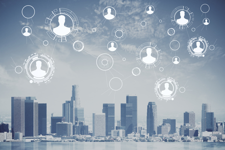 Digital connected people icons on city background. Recruitment concept. 3D Rendering Imagens - 79997679