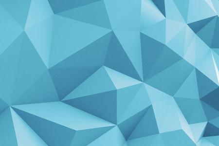 Blue concrete polygonal wall. 3D Rendering