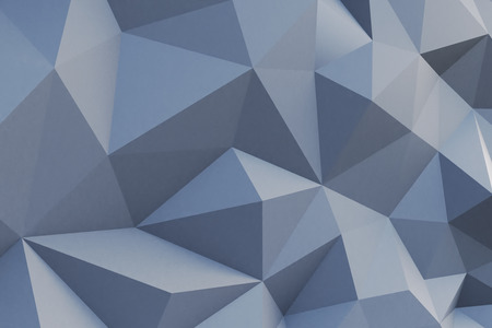 Abstract grey polygonal wall. 3D Rendering
