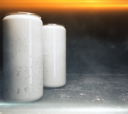 Close up of empty light beer cans illuminated from above. Design concept. Mock up, 3D Rendering Stock Photo