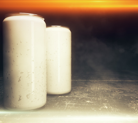 Close up of empty light soda cans illuminated from above. Design concept. Mock up, 3D Rendering