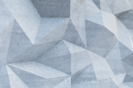 Abstract concrete polygonal wall. 3D Rendering Imagens