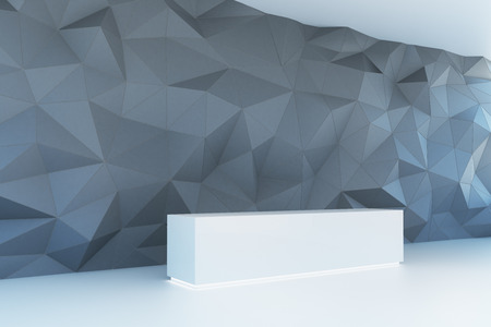 Side view of empty showcase on polygonal wall background. Exhibition concept, 3D Rendering Reklamní fotografie