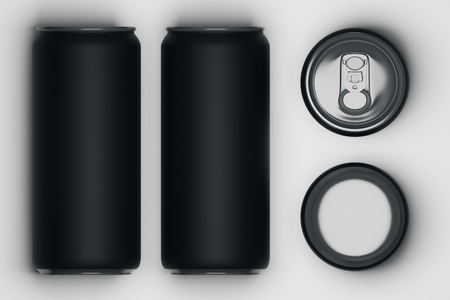 Top view of several black beer cans on light background. Container concept. Mock up, 3D Rendering
