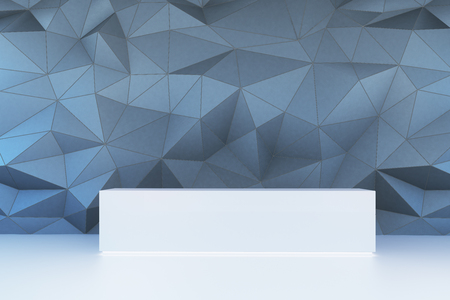 Front view of empty showcase on polygonal wall background. Exhibition concept, 3D Rendering