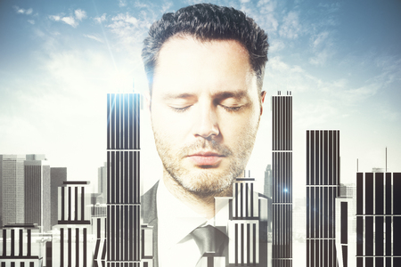 researching: Portrait of handsome young man with closed eyes on abstract city and sky background. 3D Rendering