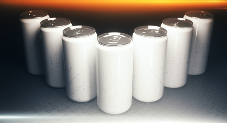 tin packaging: Close up of blank aluminium soda cans on grey background, illuminated from above. Packaging concept. Mock up, 3D Rendering Stock Photo