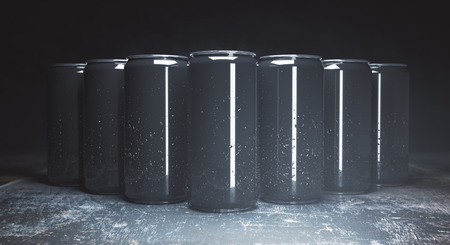 Row of empty drink cans on concrete background. Front view. Ad concept. Mock up, 3D Rendering