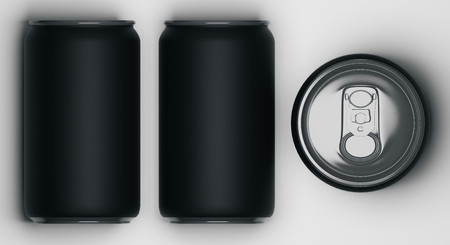Top view of several black beverage cans on light background. Container concept. Mock up, 3D Rendering