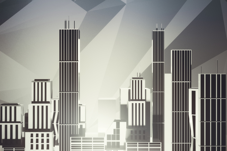 nobody: Abstract city on light background. Industry concept. 3D Rendering Stock Photo