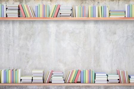 Regale mit bunten Büchern auf konkretem Hintergrund. Wissenskonzept Kopieren Sie Platz, 3D-Rendering Standard-Bild