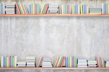 Shelves with colorful books on concrete background. Knowledge concept. Copy space, 3D Rendering