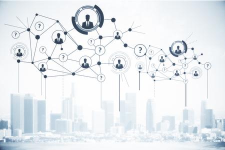 都市の背景にアイコンはデジタル接続された人々。コンセプトを採用します。3 D レンダリング 写真素材