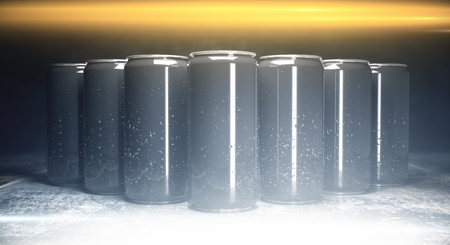 Front view of blank aluminium soda cans on grey background, illuminated from above. Packaging concept. Mock up, 3D Rendering