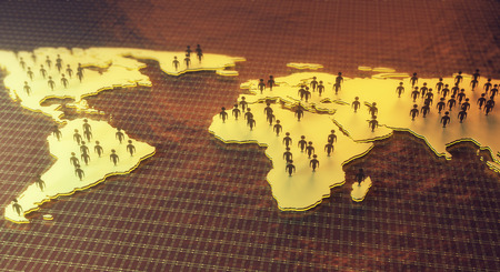 Abstract map with people figures on dark mesh background. Networking concept. 3D Rendering