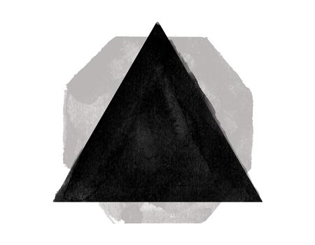 흰색 배경에 추상 검은 색 삼각형. 예술 개념 스톡 콘텐츠 - 79997957