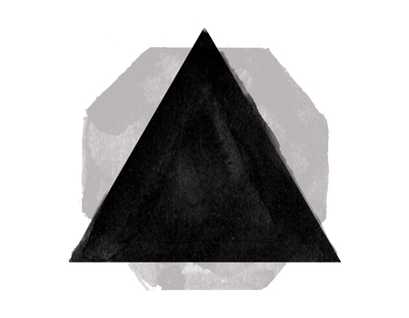 Abstract black triangle on white background. Art concept