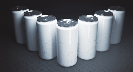 Row of empty beer cans on iron background. Close up. Logo concept. Mock up, 3D Rendering Stock Photo