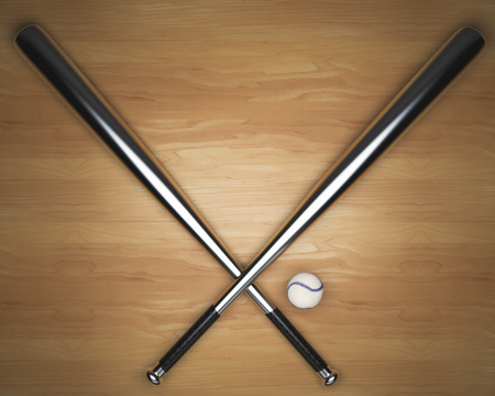 wooden floors: Crossed metal bats and baseball on light wooden table. 3D Rendering Stock Photo