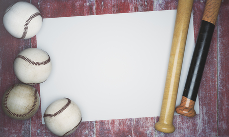 Top view of baseballs and bats on aged red wood background with banner. Advertisement concept. Mock up, 3D Rendering Stock Photo
