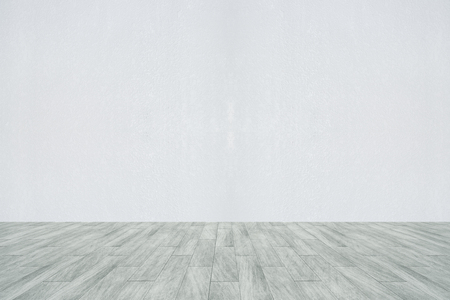 frontview: interior with empty concrete wall and wooden floor. Advertisement concept. 3D Rendering