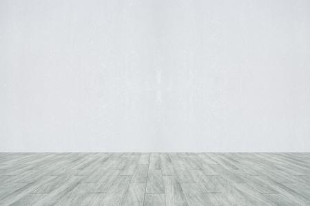 Interni con parete in cemento vuoto e pavimento in legno. Concetto di pubblicità. Rendering 3D Archivio Fotografico - 80620984