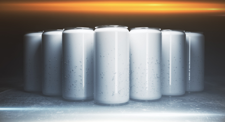 Front view of blank aluminium drink cans on grey background, illuminated from above. packaging concept. Mock up, 3D Rendering