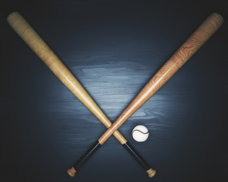 Crossed bats and baseball on dark wooden surface. 3D Rendering