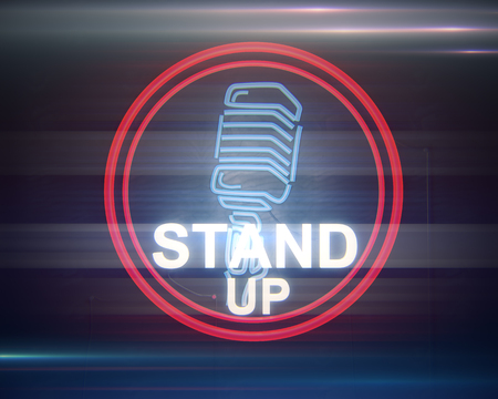 Close up of illuminated retro stand up microphone icon on dark background. Symbol concept. 3D Rendering Stok Fotoğraf - 80621036
