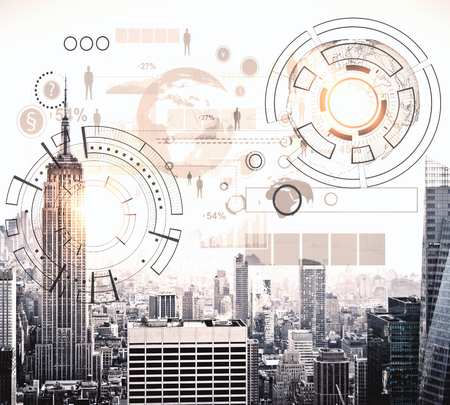 Modern city with abstract business chart hologram. Finance concept. 3D Rendering