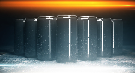 Front view of blank aluminium beverage cans on grey background, illuminated from above. Packaging concept. Mock up, 3D Rendering
