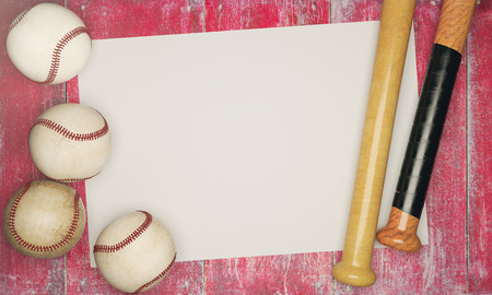 Top view of baseballs and bats on aged red wood background with poster. Advertisement concept. Mock up, 3D Rendering Zdjęcie Seryjne