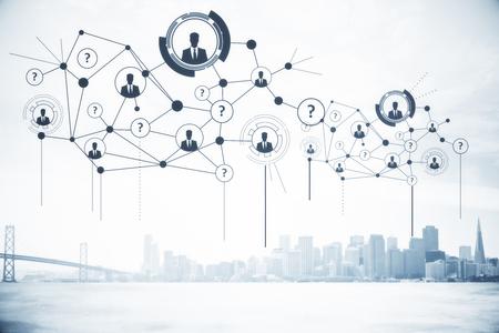 都市の背景にアイコンはデジタル接続された人々。人材育成コンセプト。3 D レンダリング