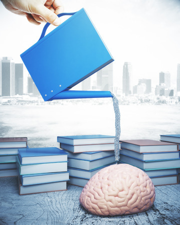 nourishing: Abstract image of hand nourishing brain with abstract bookwatering can on city background. Library concept. 3D Rendering