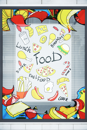 Vitrine with colorful food sketch. Cafe concept. 3D Rendering