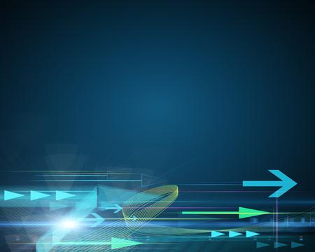 矢印の付いた青い背景成功のコンセプト