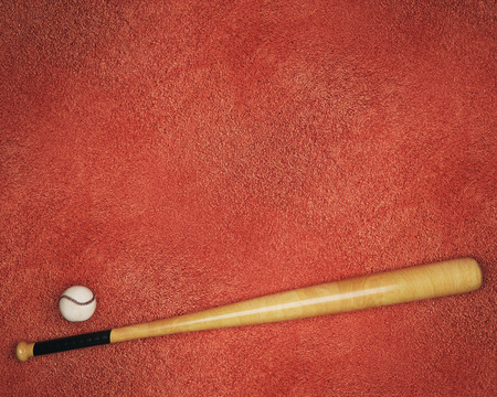 Top view of baseball and bat on red background with copy space. Activity concept. Mock up, 3D Rendering