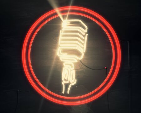 Front view of vintage illuminated microphone icon on wooden background. Show concept. 3D Rendering